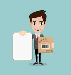 delivery men with box and white board vector image vector image
