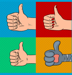 Family thumbs up pop art vector