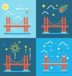 Flat design of Golden gate vector image vector image