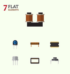 Flat icon electronics set of resist transducer vector