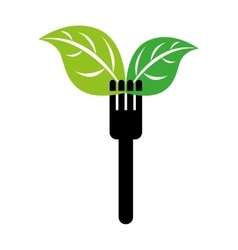fork with leafs isolated icon design vector image
