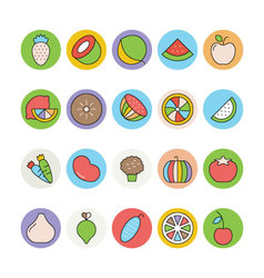 Fruits and vegetables icons 4 vector