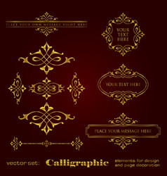 golden calligraphic elements for design vector image vector image