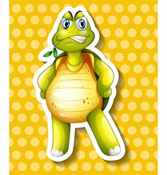Green turtle standing and chewing leaf vector image vector image