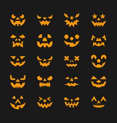 halloween face set flat design symbol collection vector image