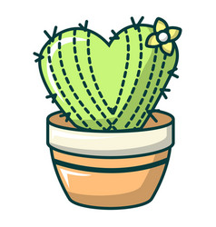 Heart cactus icon cartoon style vector