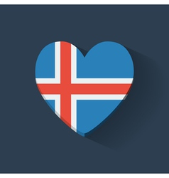 Heart-shaped icon with flag of iceland vector