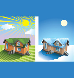 house in summer and winter vector image vector image