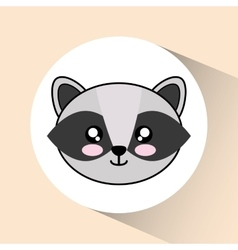 Kawaii raccoon icon Cute animal graphic vector image vector image