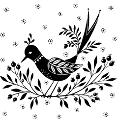 Ornamental bird sitting on a branch vector image