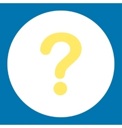 Question flat yellow and white colors round button vector