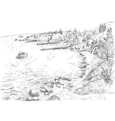Sea coast with piers and rocky shore vector image vector image