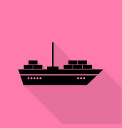 ship sign black icon with flat style vector image vector image