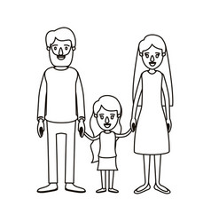 Silhouette caricature family with father bearded vector