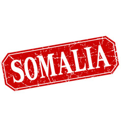 somalia red square grunge retro style sign vector image vector image