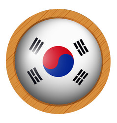 South korea flag on wooden frame vector