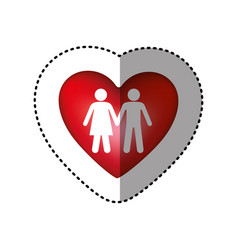 sticker silhouette couple inside of colorful heart vector image