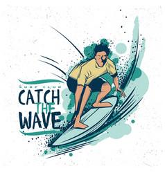 surfing t-shirt label design vector image vector image