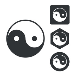 Ying yang icon set monochrome vector