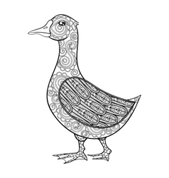 zentangle magic goose black print for vector image
