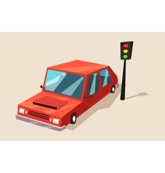 Car or auto automobile vehicle at traffic light vector image