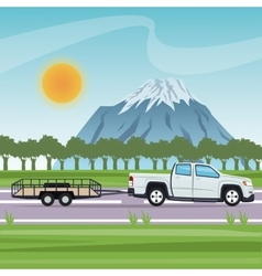 Vehicle with trailer and transportation design vector