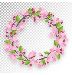 Blossoming cherry round frame for text apple-tree vector