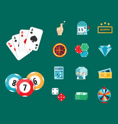Casino game poker gambler symbols blackjack cards vector