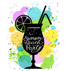 Summer beach party calligraphic lettering vector