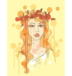 Sketch of a woman with flowers in her hair vector