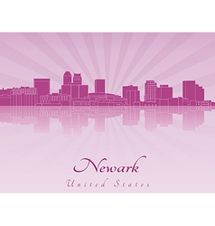 Newark skyline in purple radiant orchid vector image