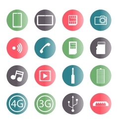 A set of mobile icons vector