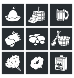 Bath and sauna accessories icons set vector
