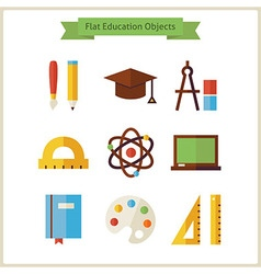 Flat school and education objects set vector