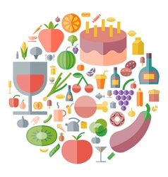 Icons shape flat food drinks vector