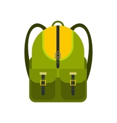 Green touristic backpack flat icon vector