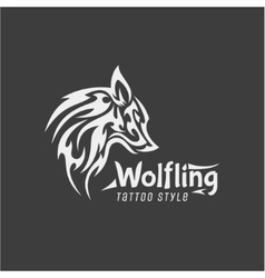 Wolfling tattoo style mark of contemporary vector