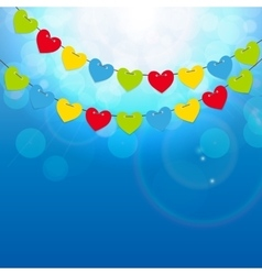 Party background with heart shaped flags vector