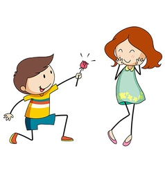 Boy giving flower to girlfriend vector