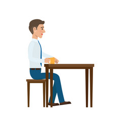 Businessman at coffee break flat vector