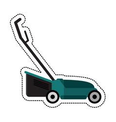 Cartoon hand lawn mower gardening vector