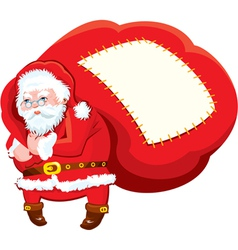 Cartoon Santa Claus with huge sack full of gifts vector image vector image