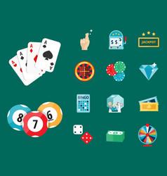 Casino game poker gambler symbols blackjack cards vector