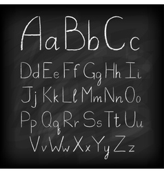 Chalk board hand drawn alphabet vector image vector image