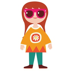 Cute girl hippie character vector image