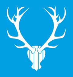 Deer antler icon white vector