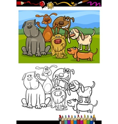 dogs group cartoon coloring book vector image vector image