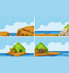 Four scenes of ocean at day time vector