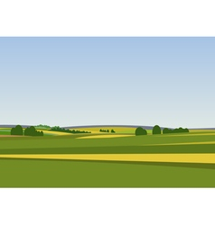 Green landscape with yellow fields vector image