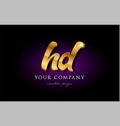 Hd h d 3d gold golden alphabet letter metal logo vector